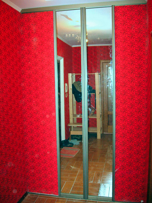Двери купе зеркальные закрывают вход в гардеробную комнату.