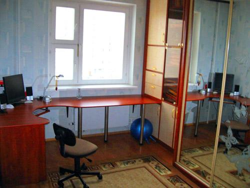 Шкаф-купе, книжный шкаф и компьютерный стол.
